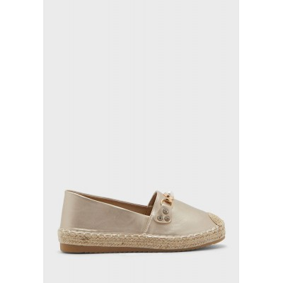 Ella Girls gold Chain And Pearl Detail Espadrille P3YXW2519