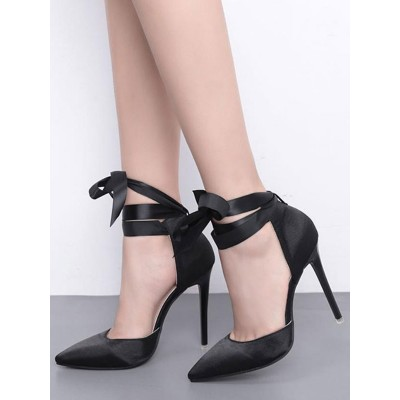 Black High Heels Satin Pointed Toe Lace Up Pumps Women Party Shoes #23600813756