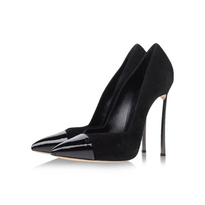 Black High Heels Suede Pointed Toe Stiletto Heel Pumps For Women on style #23600816438