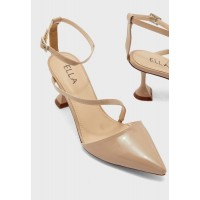 Ella Girl's beige Pointed toe multi-strap pump with feature heel H25R79189
