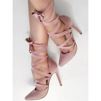 Suede High Heels Pink Pointed Toe Lace Up Pumps For Women Sexy Heeled Shoes Clearance Sale #23600826954