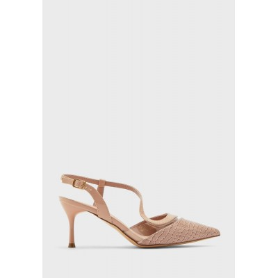 Ella Girl's beige Croc Effect And Clear Curved Strap Pointed Pump QYNTN9145
