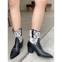 Women Booties Artwork Pointed Toe Chunky Heel PU Leather White Ankle Boots The Top Selling #10690972286