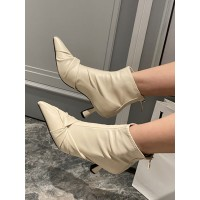 Women Booties Bows Pointed Toe Kitten Heel PU Leather White Ankle Boots Ships Free #10690972294