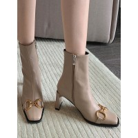 Women Booties Chains Square Toe Chunky Heel PU Leather Apricot Ankle Boots Clearance Sale #10690972302