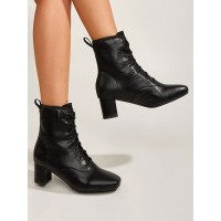 Women's Chunky Heel Lace Up Ankle Boots in Black #10690962134