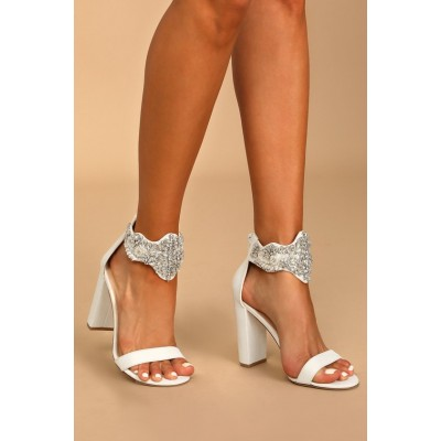 Lulus Dannah White Suede Rhinestone and Pearl High Heel Sandals White Womens Going Out In New Look M61WJ5530