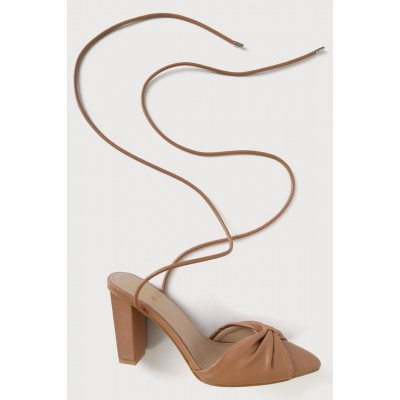 Lulus Doja Light Nude Pointed-Toe Lace-Up Pumps Light Nude for Women On Line B4L3P7471