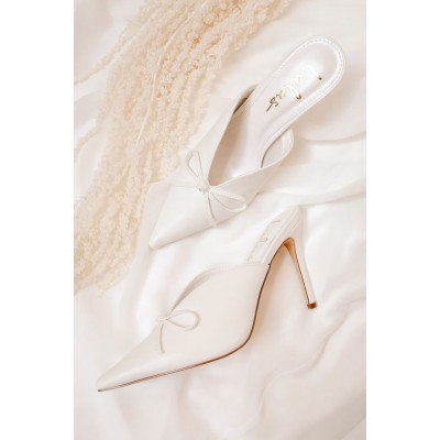 Lulus Fletch White Pointed-Toe Mules White for Women Formal Trends 2021 WGIMS1710