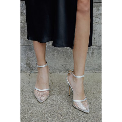 Lulus Keiza Silver Patent Rhinestone Pointed-Toe Ankle Strap Pumps Silver Womens Going Out A5EV81615