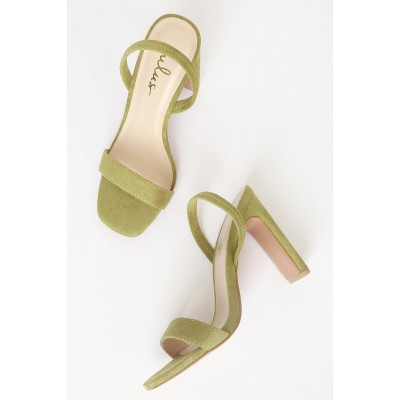 Lulus Lona Green Suede High Heel Sandals Green Women Going Out Outlet PAHQT7327