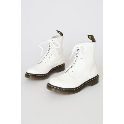 Dr. Martens 1460 Pascal Optical White Virginia Leather 8-Eye Boots Optical White Womens Going Out Express D03QY6694