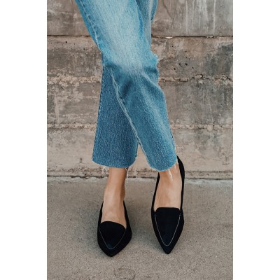 Lulus Emmy Black Suede Pointed Loafers Black for Women In Store WZ9IW380