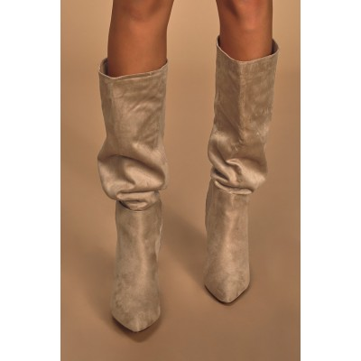 Lulus Katari Taupe Suede Pointed-Toe Knee High Boots Taupe Womens Going Out Shop Online CGWBB1981