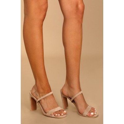 Lulus Lona Light Nude Suede High Heel Sandals Light Nude Womens Outlet L0BLY2006