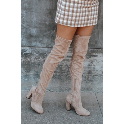 Lulus So Much Yes Light Nude Suede Over the Knee Boots Light Nude for Women Business Casual In Sale QIHX83469