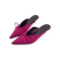 Fuchsia Mules Shoes Pointed Toe Bow Kitten Heel Backless Women's Slip On Shoes Casual #06200707454
