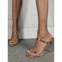 Womens Champagne Stiletto Heel Mules with Double Straps Trending #113240938234