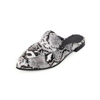 Womens Flat Mules Shoes White Snake Print Backless Shoes #06200899802