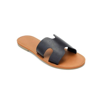 Black Flat Slide Sandals Casual Slippers Fitted #11100949254