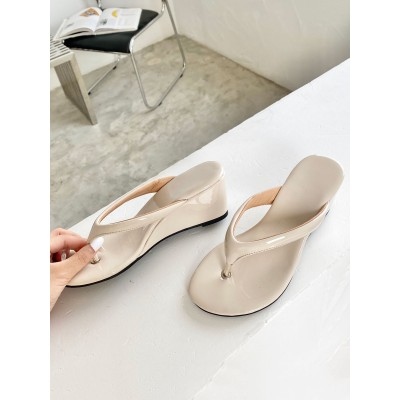 Flip Flop For Women Apricot Open Toe Wedge Heel Patent PU Slippers Fit #11100952356