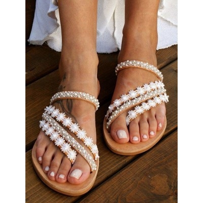 Wedding Shoes PU Leather White Open Toe Flowers Flat Slippers Fitted #05790948258