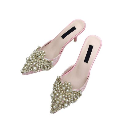 Women Mules Shoes High Heels Pointed Toe Pearls Backless Slip On Shoes Designer #06200768202