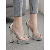 High Heel Sexy Sandals Silver Leather Open Toe Platform Transparent Sexy Pumps At Target #12400914722