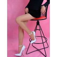 White Sexy Shoes Pointed Toe Stiletto Heel Ankle Strap Pumps Women High Heels on clearance #12390811088