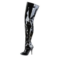 Women Sexy Boots Pointed Toe Zipper Sequins Stiletto Heel Rave Club Black Thigh High Boots Stripper Shoes Clearance #12420904342