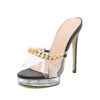 Women's Sexy Clear Chains Mule Heels with Lock on style #12400970720