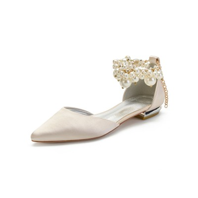Champagne Wedding Shoes Satin Pointed Toe Pearls Flat Bridal Shoes good quality #05790913480