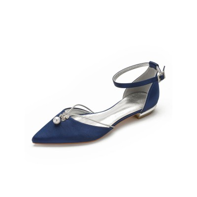 Flat Wedding Shoes Women's Two-part Satin Pointed Toe Bridal Shoes With Pearls new in #05790899482