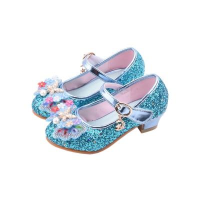 Flower Girl Shoes Blue Sequined Cloth Upper Party Shoes Kids Pageant Shoes Discount #08380928698