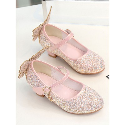 Flower Girl Shoes Pink PU Leather Rhinestones Party Shoes For Kids #08380957412