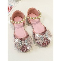 Flower Girl Shoes Pink PU Leather Rhinestones Party Shoes For Kids Online Wholesale #08380957448