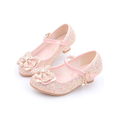 Flower Girl Shoes Pink Sequined Cloth Bows Mary Jane Party Shoes For Kids #08380870750