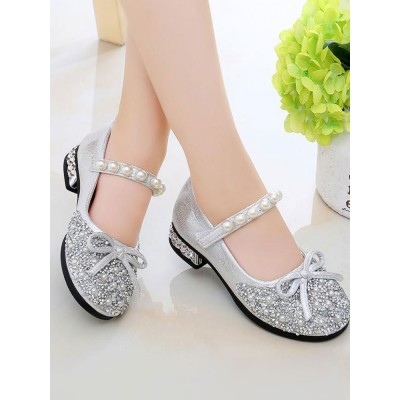 Flower Girl Shoes Silver PU Leather Rhinestones Party Shoes For Kids Popular #08380957408