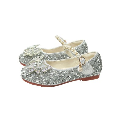 Flower Girl Shoes Silver PU Leather Rhinestones Party Shoes For Kids wholesale #08380957450