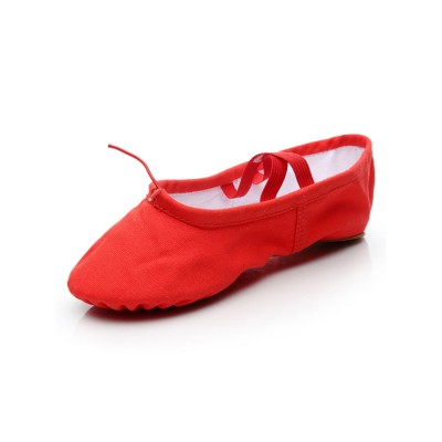 Ballet Dance Shoes Red Closed Toe Flat Heel Canvas Dance Ballet Shoes The Top Selling #17000949968