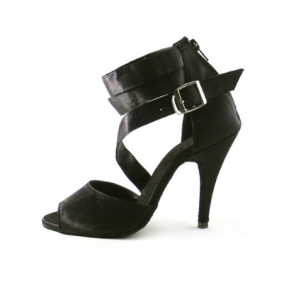 Black Buckle Ankle Strap Silk and Satin Woman's Latin Shoes Fit #17020189636