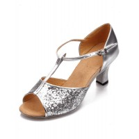 Latin Dancing Shoes 2021 Silver Ballroom Dance Shoes Sequined Open Toe T Type Dance Shoes #17020425943