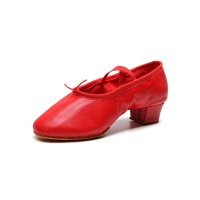 Women Ballet Dance Shoes Red Closed Toe Dance Shoes spring 2021 #17000921716