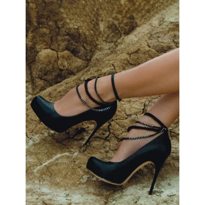 Black Sexy Pumps Stiletto High Heels With Chains cool designs #12390901976