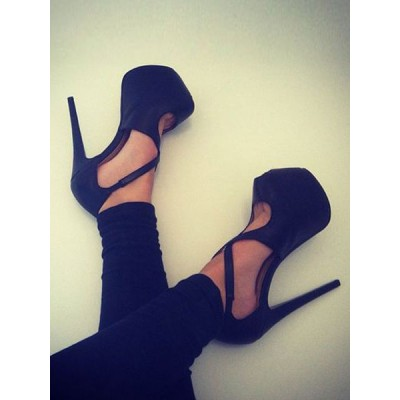 Black Sexy Shoes Women Shoes Suede Peep Toe Criss Cross High Heels high quality #12390757650