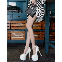 Patent White Peep Toe Sandals Sexy Platform Sandals For Woman Stripper Shoes quality #12400557847