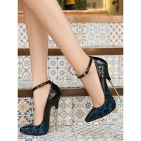 Womens Blue Sexy High Heels Leopard Print Stiletto Heel PU Leather Sexy Shoes Stripper Shoes #12390937994
