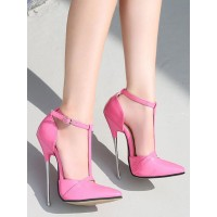 Womens Pink High Heels Magenta Pointed Toe Sexy Shoes Stiletto Heel PU Leather Sexy Ankle Strap Heels Stripper Shoes Discount #12390938322