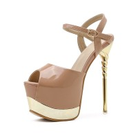 Women's Sexy High Heels Apricot Peep Toe Patent Sexy Shoes Stiletto Heels Stripper Shoes #12390927138
