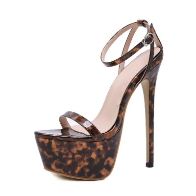 Ankle Strap Sexy Sandals For Woman Leopard Print Platform 6.3 Stiletto Heel Sexy Shoes Stripper Shoes #12400890460